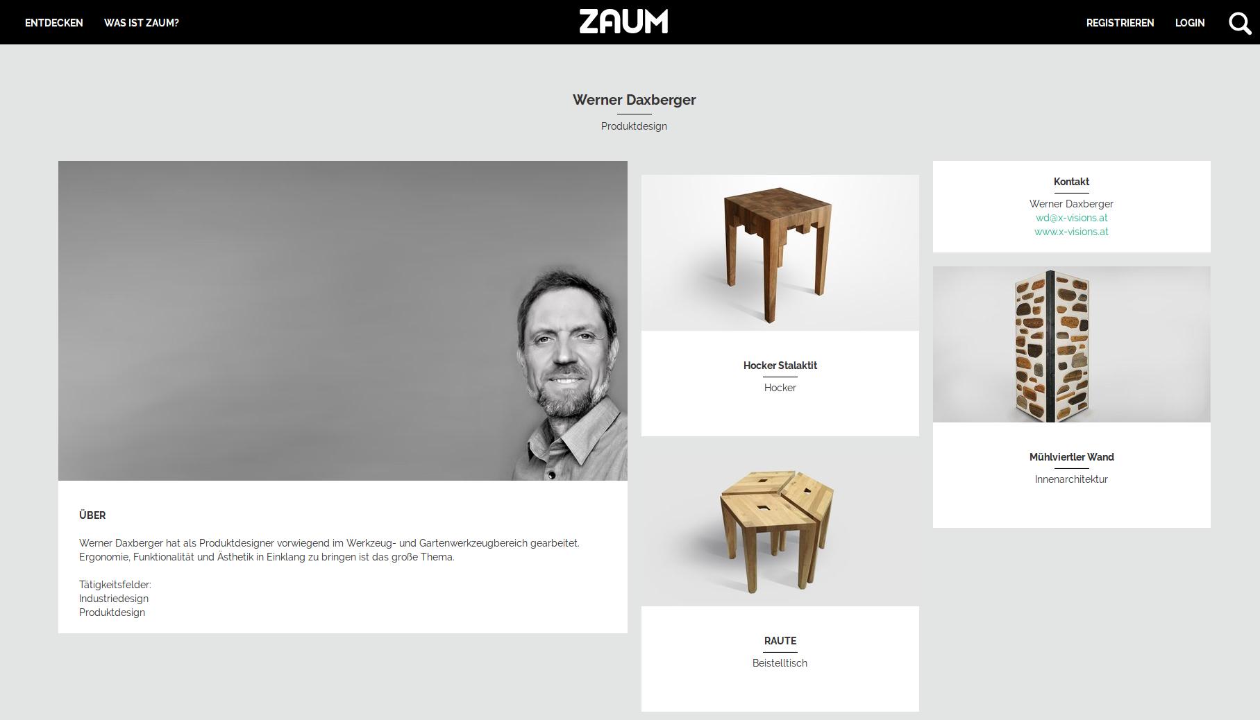 ZAUM Online-Plattform zur Präsentation von Produkten und Ideen